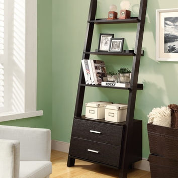 """Cappuccino 69""""H Ladder Bookcase with 2 Storage Drawers"""