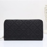 """Louis Vuitton"" Solid Color Simple Fashion Letter Embossed Long Section Zip Wallet Clutch Unisex Purse"