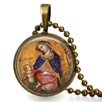 Holy Mother Icon Religious Glass Tile Pendant  Necklace Virgin Mary Child Jesus Jewelry