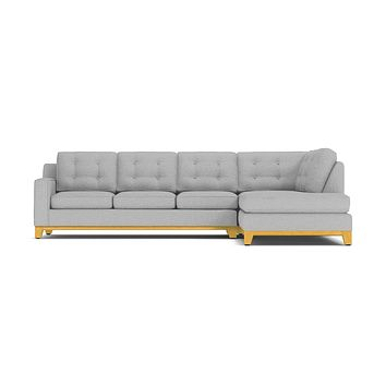 Brentwood 2pc Sleeper Sectional :: Leg Finish: Natural / Configuration: RAF - Chaise on the Right / Sleeper Option: Deluxe Innerspring Mattress