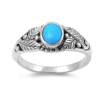 925 Sterling Silver Leaves Ring with Genuine Turquoise Stone - Packaged in Gift Box