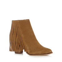 Womens Tan Faith Tan suede fringed ankle boots