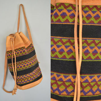 vtg 80s hand tooled BOHEMIAN festival hippie southwestern BUCKET BAG backpack