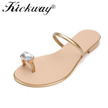 Kickway new women crystal ankle strap genuine leather classic summer sandal women flat rhinestone casual sandal shoes hotsales