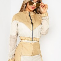 NUDE COLOUR BLOCK SHELL SUIT JACKET