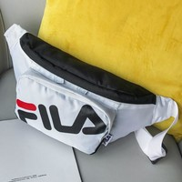 FILA 2018 new sports and leisure slung men and women canvas outdoor hand bag pocket White