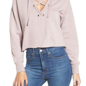 Cotton Emporium Lace-Up Hoodie | Nordstrom