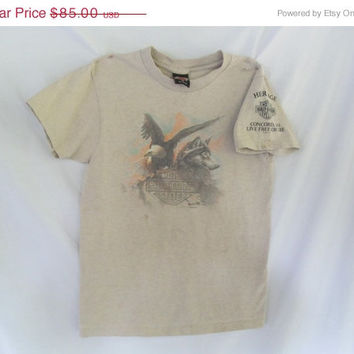 90s Rare Eagle AND Wolf Harley Davidson Vintage T Shirt Heritage Concord New Hampshire Dealer Shirt