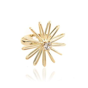 High Gloss Crystal Line Art Daisy Adjustable Ring