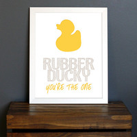 Yellow Rubber Ducky Typography Art Print - Sesame Street, fun child's bathroom or playroom decor - baby bath time - 8 x 10