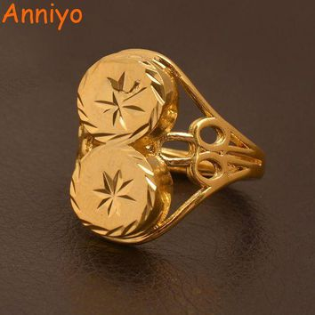 ac spbest Anniyo Papua New Guinea Resizable Ring for Women/Teenag,Ethiopian Gold Color Wedding Jewelry African Ring Gifts #096506