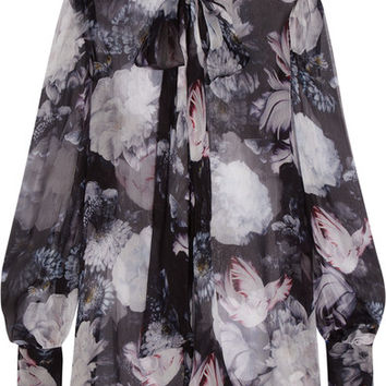 Alexander McQueen - Pussy-bow floral-print silk-crepon blouse