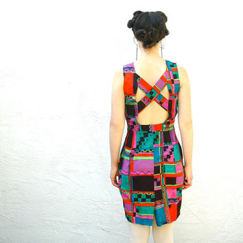 Geometric Neon Dress 90s Vintage Spring Dress by AstralBoutique