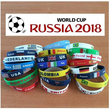 New Arrive Country World Cup Flag Logo Sport Wristband Football Fans Silicone Elastic Wrist Band ID Bracelet Souvenir Gift