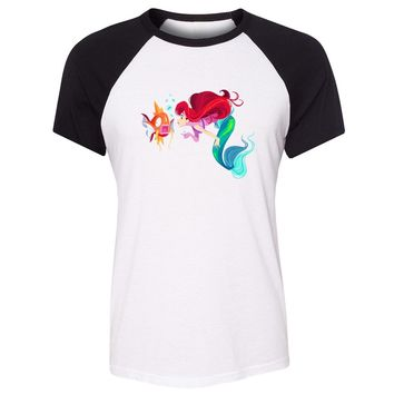 Cotton T-shirts women Short Sleeves Little Mermaid Ariel and  Magikarp part of your world Design Top Tees Casual T-shirtKawaii Pokemon go  AT_89_9