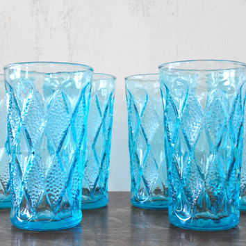 Vintage Blue Kimberly Glasses by Fire King, Turquoise Glassware, Water Glasses, Textured Diamond Pattern