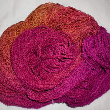 Handpainted Yarn - Cotton Boucle Worsted Weight-240 yds - CORAL ROSE