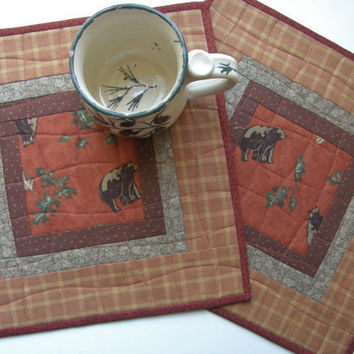 Rustic Mini Placemats - Bears and Plaid - Set of 2