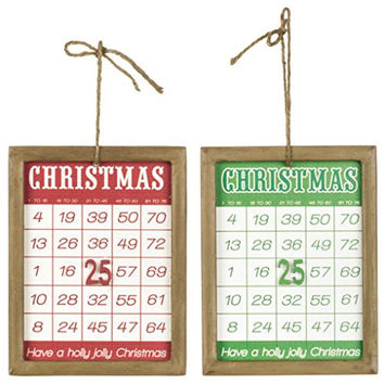 Retro Christmas Framed Bingo Cards - Holiday Decoration Ornament - Set of 2
