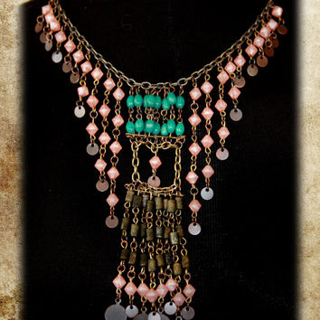 Turkish Hand Bead Tribal Necklace Belly Dance Jewelry