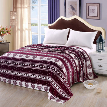 "Corzon Enamorado Queen Size (86"" x 86"") Micro-Fleece Blanket - Burgundy"
