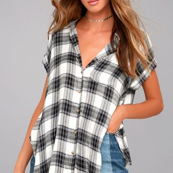 Here We Go Black Plaid Button-Up Top