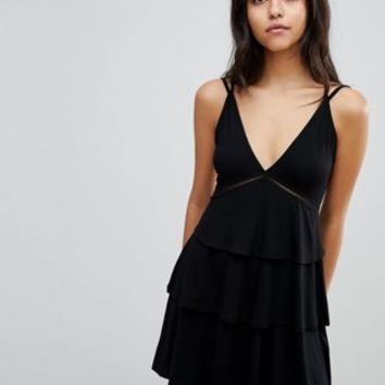 ASOS Strappy Mini Sundress with Tier and Ladder Trim at asos.com