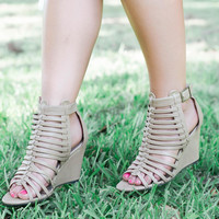 The Jaden Wedge Sandal - Nude