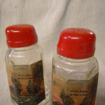 Retro Red Top Pulaski Wisconsin Glass Salt and Pepper Shakers