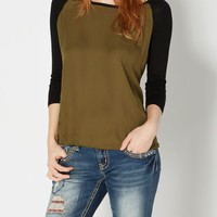 Olive Green Chiffon Raglan Top | Long Sleeve | rue21