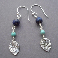 Dangly blue earrings wire wrapped Lapis lazuli and Turquoise earrings Artisan sterling silver charm