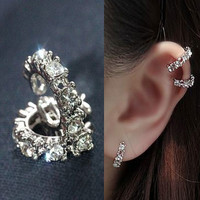 Round Stone Ring Ear Cuff (Single, No Piercing)