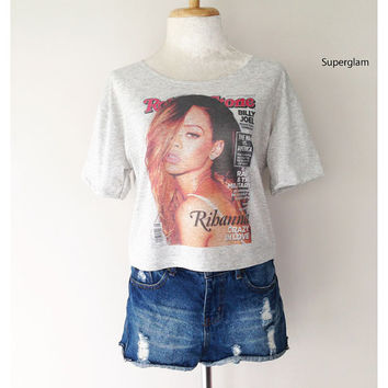 Rihanna Singer Actress R&B Pop Hiphop Dance Women Top Wide Crop Fashion T Shirt