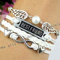 Best friend bracelet, infinity bracelet, golden snitch bracelet, pearl milk tea color, love the decorations, girlfriend and BFF