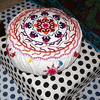 Indian Traditional Home Decorative Ottoman Handmade Pouf, Indian Comfortable Floor Cotton Cushion Ottoman Cover Embellished with Embroidery Work, Indian Vintage Ottoman White Pouf
