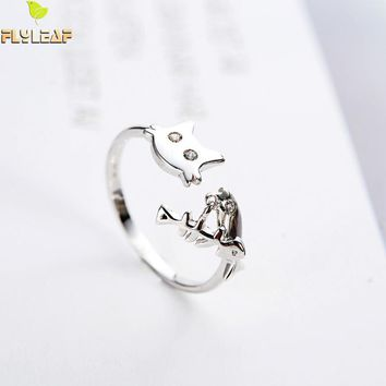 Flyleaf 100% 925 Sterling Silver Cubic Zirconia Cat Fish Open Rings For Women Personality Girl Gift Fashion Jewelry