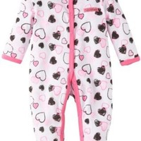 Calvin Klein Baby-girls Newborn Stretchie Coverall, Black/Pink, 3-6 Months