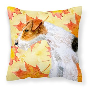 Fox Terrier Fall Fabric Decorative Pillow BB9911PW1818
