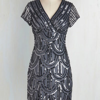Vintage Inspired Short Sleeves Sheath Cascading Cava Dress in Silver by ModCloth