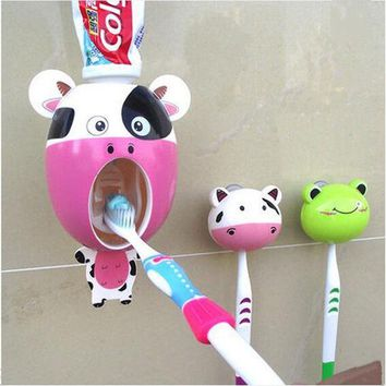 PEAPUNT Interesting Bathroom Accessories sucker Cartoon Automatic Toothpaste dispenser Toothbrush holder suits Bathroom Products