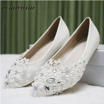 Women Shoes Handmade Wedding Shoes Lace Diamond Pearl Rhinestone Beaded Anklet  Shoes White Bridesmaid Shoes