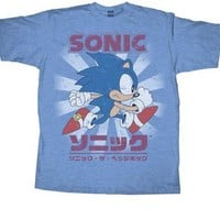Sonic the Hedgehog Sly Sonic Kanji Heather Light Blue Adult T-Shirt