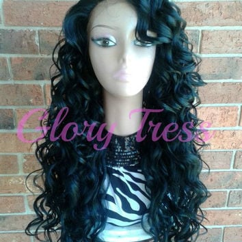 ON SALE // Long & Curly Lace Front Wig With Baby Hair, 100% Remy Human Hair Premium Blend // PRINCESS (Free Shipping)