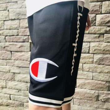 Champion Summer new fashion casual embroidery print shorts Black