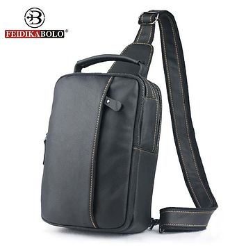Bag Men Chest Pack Sling Single Shoulder Strap Pack Bag Genuine Leather Bag Men Fashion Handbags Rucksack Chest Bag