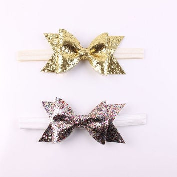 1 PC Newborn Flower Bow Glitter Elastic Headband For Infantile Girls Hair Accessories Pretty Baby Headbands Hairband Gold Silver
