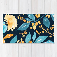 Teal and Golden Floral Rug by noondaydesign