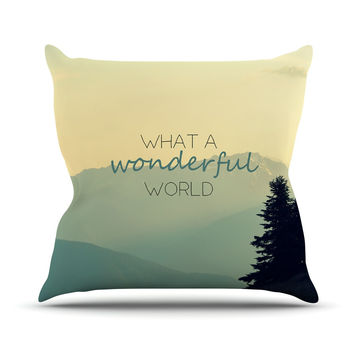 "Robin Dickinson ""What A Wonderful World"" Teal Tan Throw Pillow"