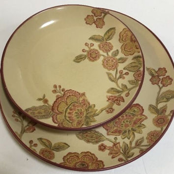 222 Fifth Jacobean Red Floral Pattern Cream Dinnerware 4 Pc Set Red Trim & Back