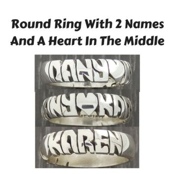 Hand carved Round Ring Sterling Silver 925 6mm Band 2 Names & Heart in The Middle